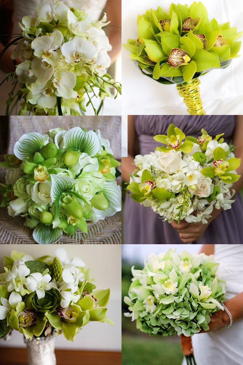 Букет невесты белый зеленый орхидея как делать, розы купить минск