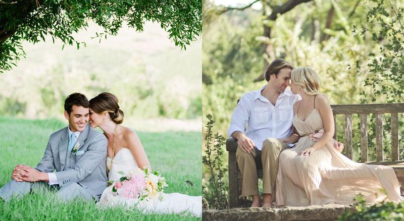 Удачные позы для свадебной фотосессии сидя
