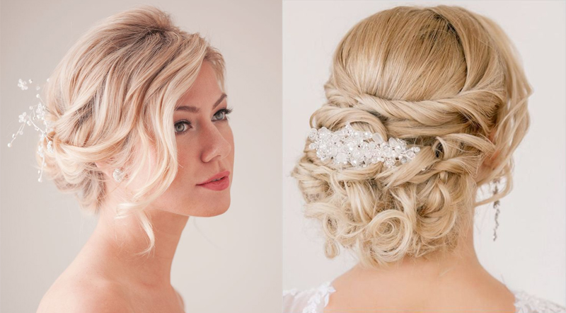 Прически на средние волосы пучок на свадьбу