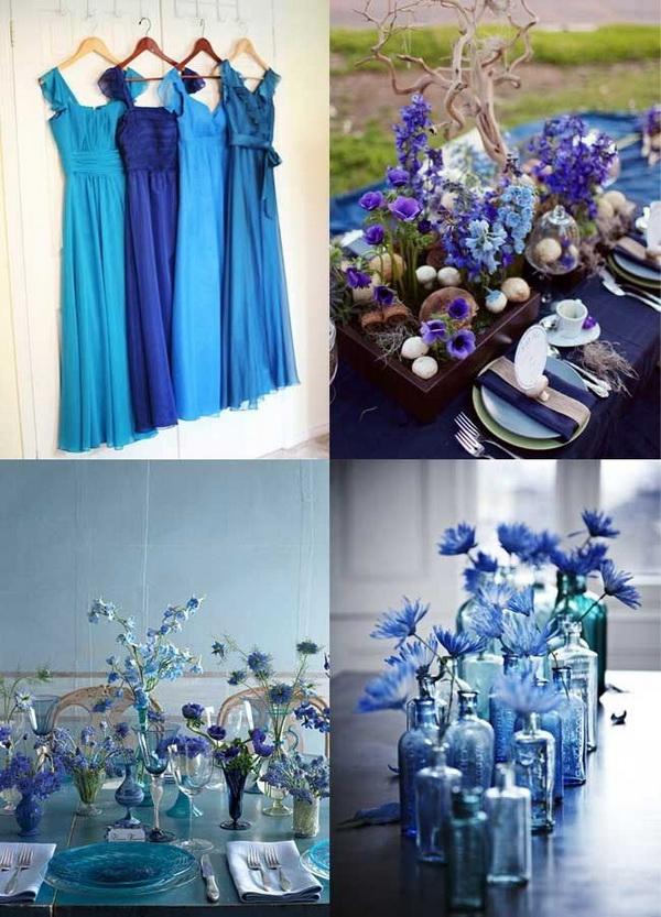 Синие свадебные платья фото невест в нарядах бело-синего 4