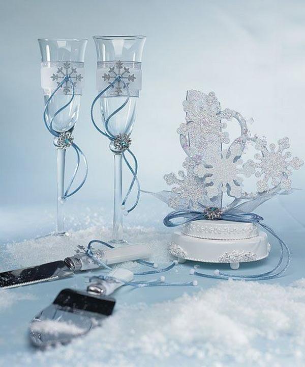 Бокалы на зимнюю свадьбу своими руками