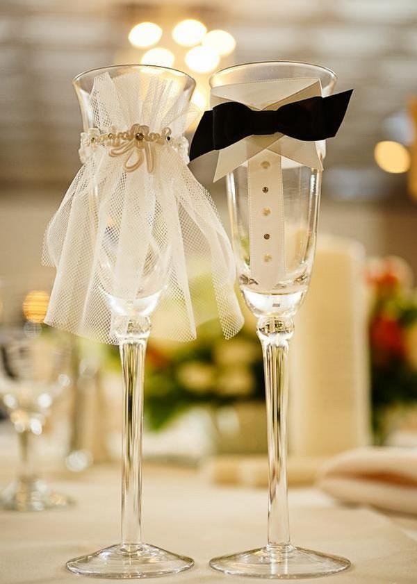 Бокалы своими руками для жениха и невесты 382