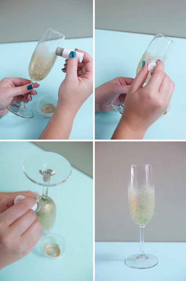 Свадебные бокалы с блестками