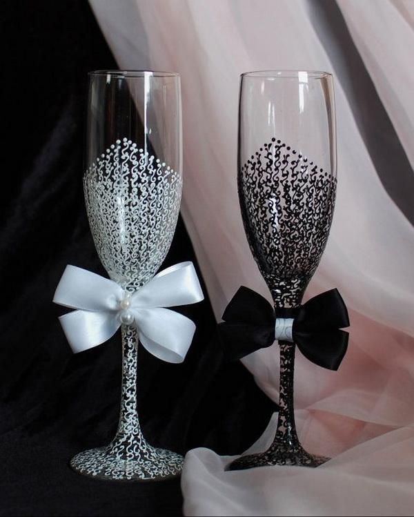 На бокалы на свадьбу своими руками фото пошагово