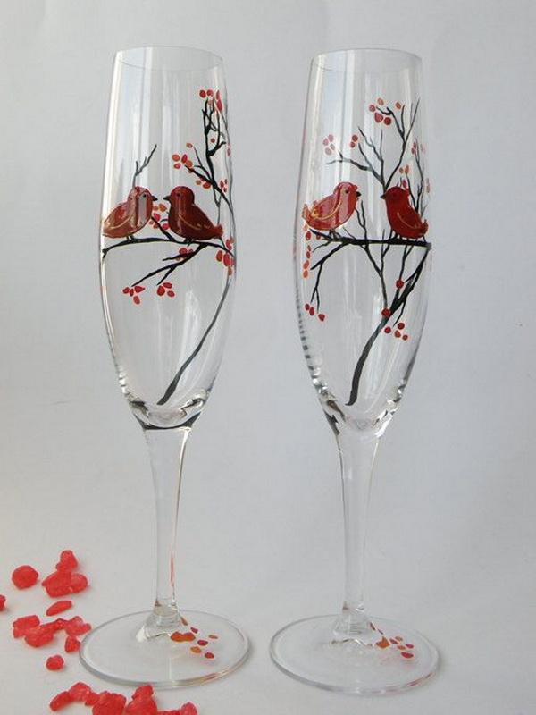 Свадебные бокалы для весенней свадьбы своими руками
