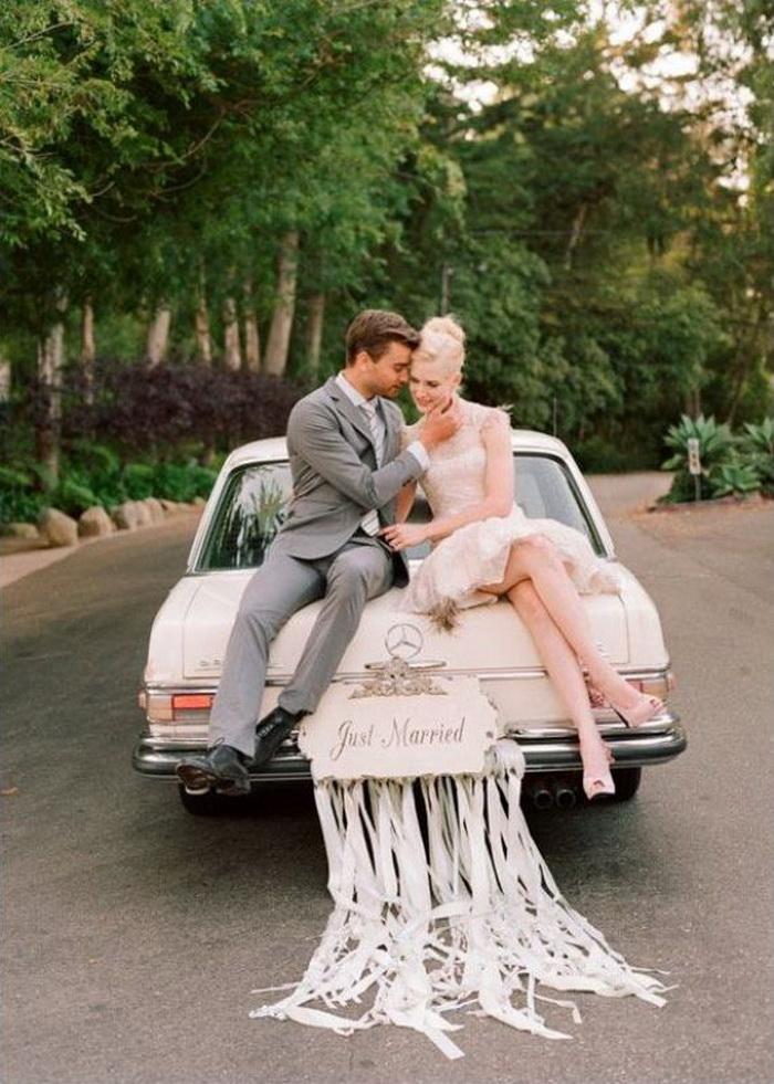 Украшение авто на свадьбу лентами